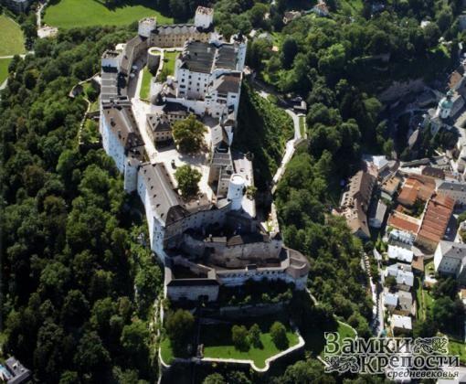 Замок Хоэнзальцбург с высоты птичьего полета
