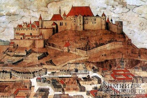 Замок Хоэнзальцбург на гравюре XVI в.