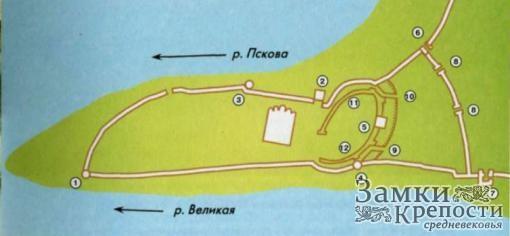 План Псковского Крома в XIV-XV вв.