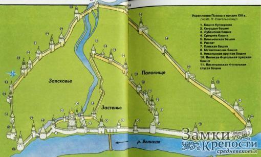 Укрепления Пскова в начале XVI в.
