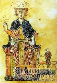 Изображение Фридриха II из его книги «De arte venandi cum avibus» («Об искусстве охоты с птицами»), конец XIII века, Ватиканская апостольская библиотека.