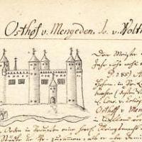 Замок Бауска в старой рукописи XV в.