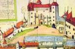 Внутренний двор замка Крживоклат в XVII в. на старинной миниатюре