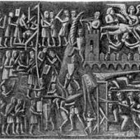 Осада Тулузы. Каменный барельеф из церкви в Каркассоне. XIII век