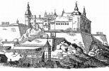 Крепость Бохус на старой гравюре